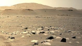 Une photo de Mars envoyée par l'hélicoptère de la Nasa Ingenuity, le 25 avril 2021. (AFP / CALTECH)
