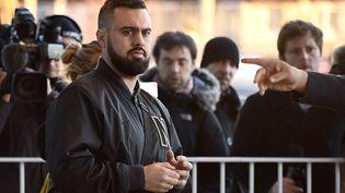 """Eric Drouet, figure du mouvement des """"gilets jaunes"""", au tribunal correctionnel de Paris le 15 février 2019. (LIONEL BONAVENTURE / AFP)"""