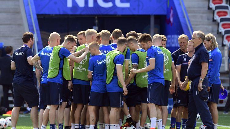 Les joueurs islandais à l'entraînement dans le stade de Nice (Alpes-Maritimes), le 26 juin 2016. (TOBIAS SCHWARZ / AFP)