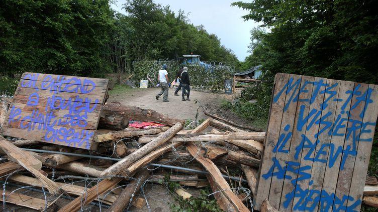 Des opposants au projet Cigéo de stockage de déchets radioactifs à Bure (Meuse)occupentle bois de Mandres-en-Barrois, le 20 juin 2016. (MAXPPP)