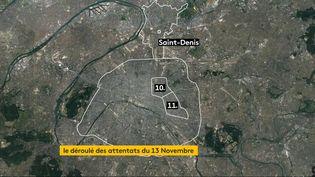 Extrait de la vidéo retraçant le déroulé des attentats du 13 novembre 2015. à Paris et Saint-Denis. (JESSICA KOMGUEN / PIERRE-ALBERT JOSSERAND)