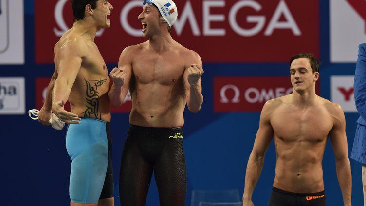 Manaudou et Gilot : deux piliers forts du relais 4x100m. (STEPHANE KEMPINAIRE / STEPHANE KEMPINAIRE)