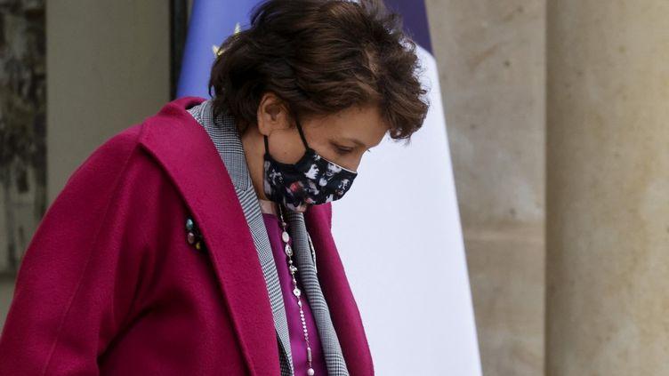 La ministre de la Culture Roselyne Bachelot masqué, en janvier 2021. (LUDOVIC MARIN / AFP)