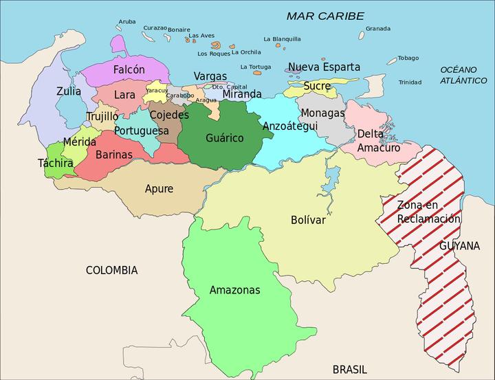 Les cartes vénézuéliennes du Venezuela indiquent l'emplacement de la«Guayana Esequiba»sous le nom de «Zona en Reclamación». (CC BY-SA 3.0  - http://fr.wikipedia.org/wiki/Guayana_Esequiba#/media/File:Venezuela_Division_Politica_Territorial.svg)