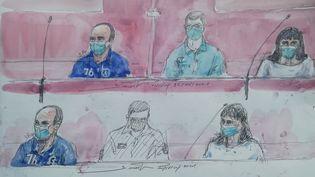 Illustration du procès de l'affaire Troadec, à Nantes (Loire-Atlantique), à son ouverture le 22 juin 2021. (BENOIT PEYRUCQ / AFP)