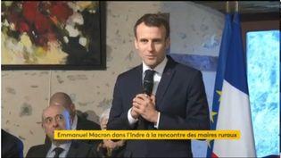 Emmanuel Macron le 14 février 2019 dans l'Indre. (FRANCEINFO)