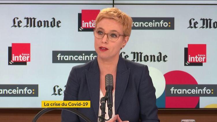 Clémentine Autain, députée La France insoumise de Seine-Saint-Denis, invitée de Questions politiques sur France Inter et franceinfo, le 7 février 2021. (FRANCEINFO / RADIOFRANCE)