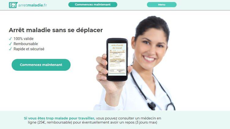Page d'accueil du site arretmaladie.fr. (CAPTURE D'ÉCRAN)