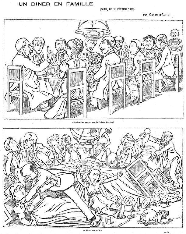 """L'un des plus célèbres dessins sur l'affaire Dreyfus : """"Ils en ont parlé"""". (Caran d'Ache/Wikimedia Commons)"""