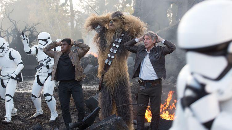 John Boyega (G), Peter Mayhew (C) et Harrison Ford (D) dans Star Wars VII : Le Réveil de la Force. (Lucasfilm Ltd. & TM / THE WALT DISNEY COMPANY)