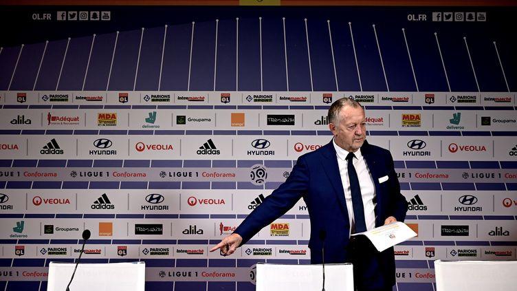 Jean-Michel Aulas, président de l'Olympique Lyonnais, lors d'une conférence de presse le 13 février 2020. (JEFF PACHOUD / AFP)