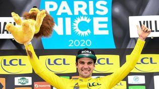 L'Allemand Maximilian Schachmann, vainqueur de la précédente édition de Paris-Nice, le 13 mars 2020 à Valdeblore (Alpes-Maritimes). (ALAIN JOCARD / AFP)