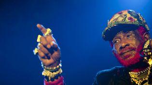 """Le musicien jamaïcain Lee """"Scratch"""" Perry sur scène à Budapest (Hongrie) le 4 février 2011. (BALAZS MOHAI / MTI / MAXPPP)"""