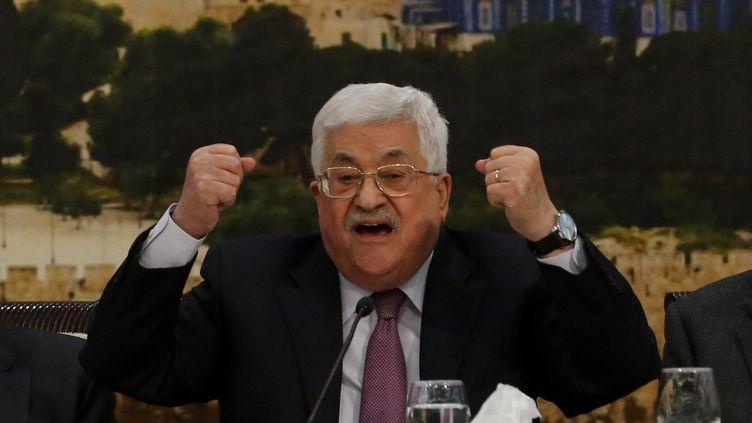Le président palestinien Mahmoud Abbas, le 14 janvier 2018, lors d'unediscussion du Conseil central palestinien, l'un des organes de l'OLP, à Ramallah. (ISSAM RIMAWI / ANADOLU AGENCY / AFP)