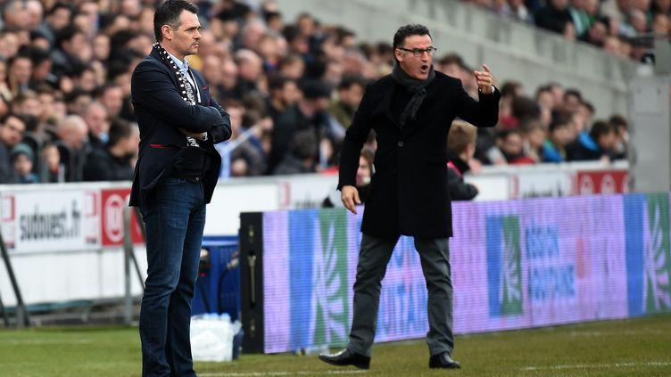 Willy Sagnol et Christophe Galtier voudront engranger leurs premiers points de la saison samedi. (PHILIPPE VACHER / MAXPPP)