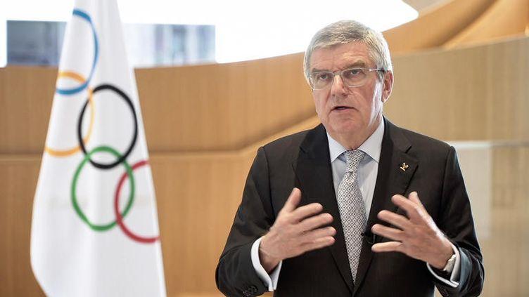 Thomas Bach, président du Comité international olympique, au siège de l'institution à Lausanne (Suisse), le 24 mars 2020. (HANDOUT / AFP)