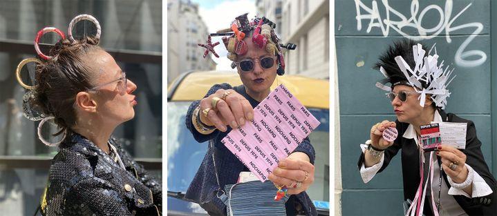Quand l'artiste Nochapiq pose dans Paris avec les objets qu'elle a emballé avec des bolducs. Avril/mai 2020 (Zalie)