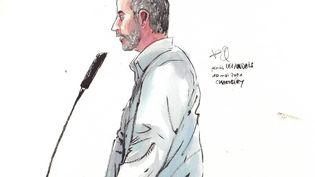 Nordahl Lelandais lors de son procès pour le meurtre de Nordahl Lelandais, le 10 mai 2021, devant la cour d'assises de la Savoie, à Chambéry. (VALENTIN PASQUIER / FRANCE 3)
