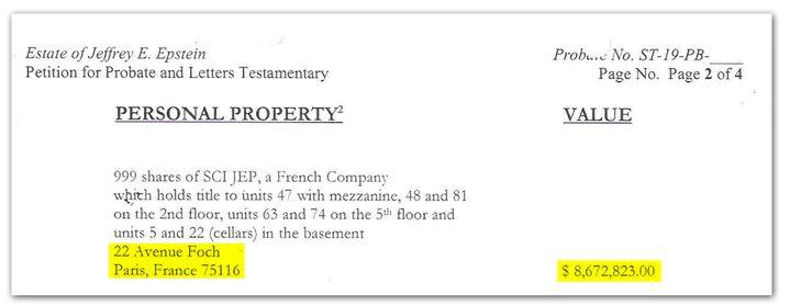 Extrait du testament de Jeffrey Epstein, qui indique que son appartement parisien vaut 8,6 millions de dollars. (DR)