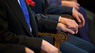 Lors du mariage du conseiller regional PS, et militants des droits des homosexuels, Jean-Luc Romero, à Paris, le 27 septembre 2013. (  MAXPPP)