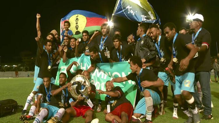 Hienghène Sport, premier club calédonien à remporter la Ligue des champions d'Océanie. (Capture d'écran OFC)