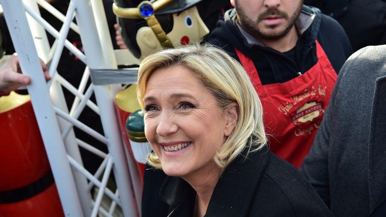 La présidente du Front national, Marine Le Pen, le 8 décembre 2016 à Paris. (CHRISTOPHE ARCHAMBAULT / AFP)