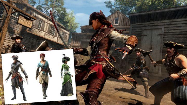 """Dans """"Assassin's Creed Liberation"""", Aveline de Grandpré se bat comme son homologue masculin… mais peut aussi s'habiller en robe. (YOUTUBE / WIKIPEDIA)"""