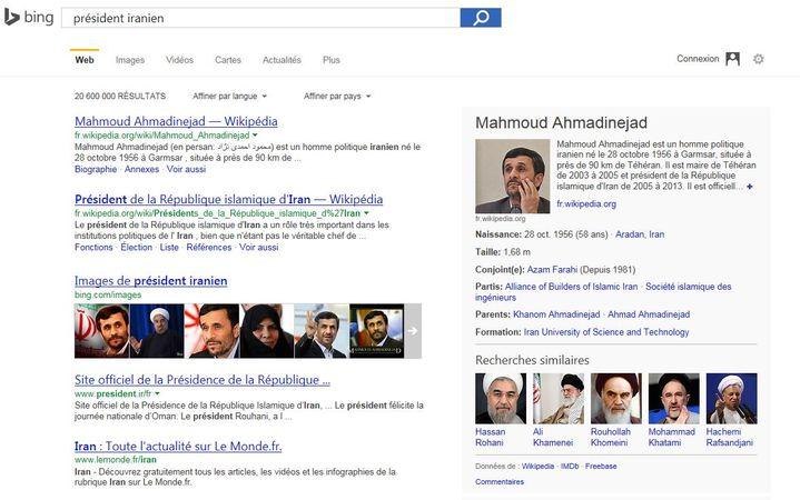"""Capture d'écran de la page résultat lorsque l'on tape """"président iranien"""" dans le moteur de recherches Bing. (BING.COM)"""