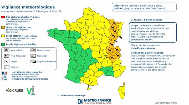 Capture d'écran de la carte de Météo France, le 24 juillet 2015. ( METEO FRANCE)