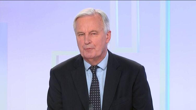 """Michel Barnier, négociateur en chef de l'Union Européenne pour les relations avec le Royaume-Uni était l'invité du """"8h30 franceinfo"""", mardi 29 décembre 2020. (FRANCEINFO / RADIOFRANCE)"""
