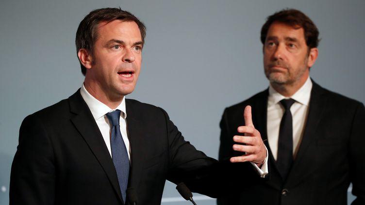 Le ministre de la Santé, Olivier Véran, et le ministre de l'Intérieur, Christophe Castaner, en conférence de presse au palais de l'Elysée, le 2 mai 2020. (AFP)