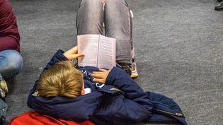 Un enfant lit un livre à la 35e édition du Salon du livre et de la presse de Montreuil (Saine-Saint-Denis). Photo d'illustration. (BRUNO LEVESQUE / MAXPPP)