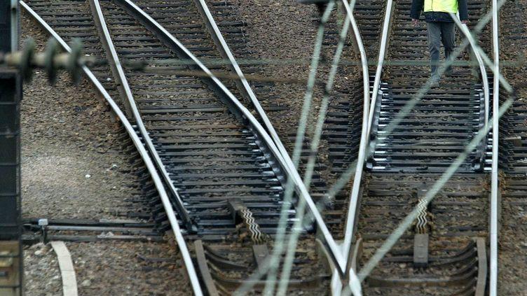 Un cheminot inspecte les rails à Schiltigheim (Bas-Rhin), le 4 mars 2004, après les menaces reçues par l'Etat de la part du groupe AZF. (HARTMANN CHRISTIAN/SIPA)