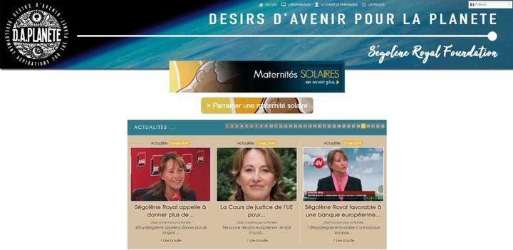Page principale du site de la fondation de Ségolène Royal Désirs d'avenir pour la planète. (CAPTURE ECRAN)