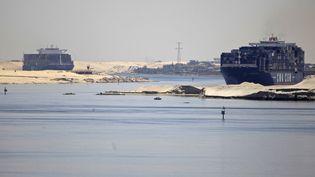 Des bateaux franchissent le canal de Suez (Egypte), le 1er mai 2014. (© AMR DALSH / REUTERS / X02182)