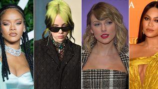Les chanteuses américaines Rihanna, Billie Eilish, Taylor Swift et Beyoncé, réclament toutes justice pour George Floyd, fin mai 2020. (SAMIR HUSSEIN - DAVID CROTTY/PATRICK MCMULLAN - NEILSON BARNARD - GARETH CATTERMOLE / GETTY IMAGES)
