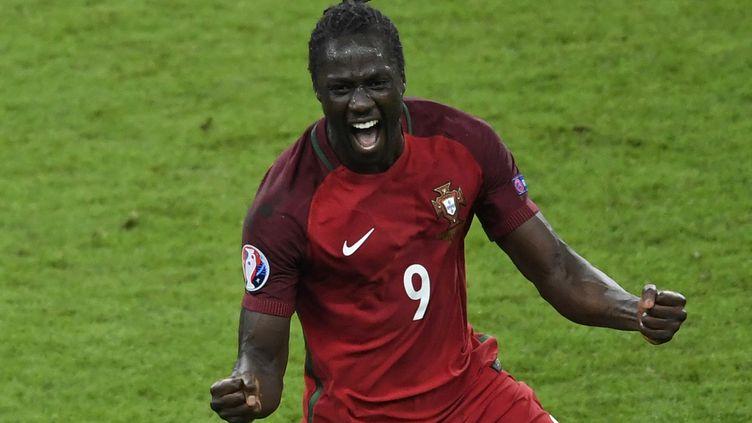 L'explosion de joie d'Eder après son but victorieux en finale de l'Euro contre la France, le 10 juillet 2016. (MIGUEL MEDINA / AFP)