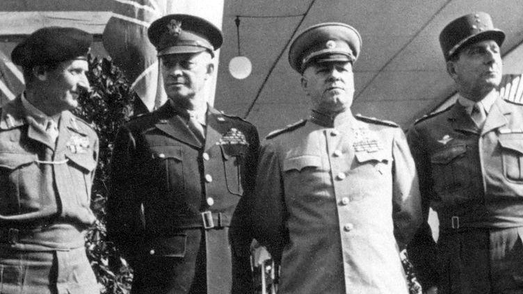 Une page d'Histoire : Yalta 1945, avec de gauche à droite, Montgomery, Eisenhower, Joukov et De Lattre de Tassigny.  (Wostok Press/MAXPPP)