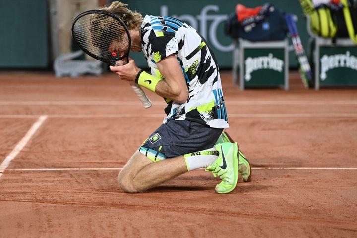Andrey Rublev lors du premier tour. (ANNE-CHRISTINE POUJOULAT / AFP)