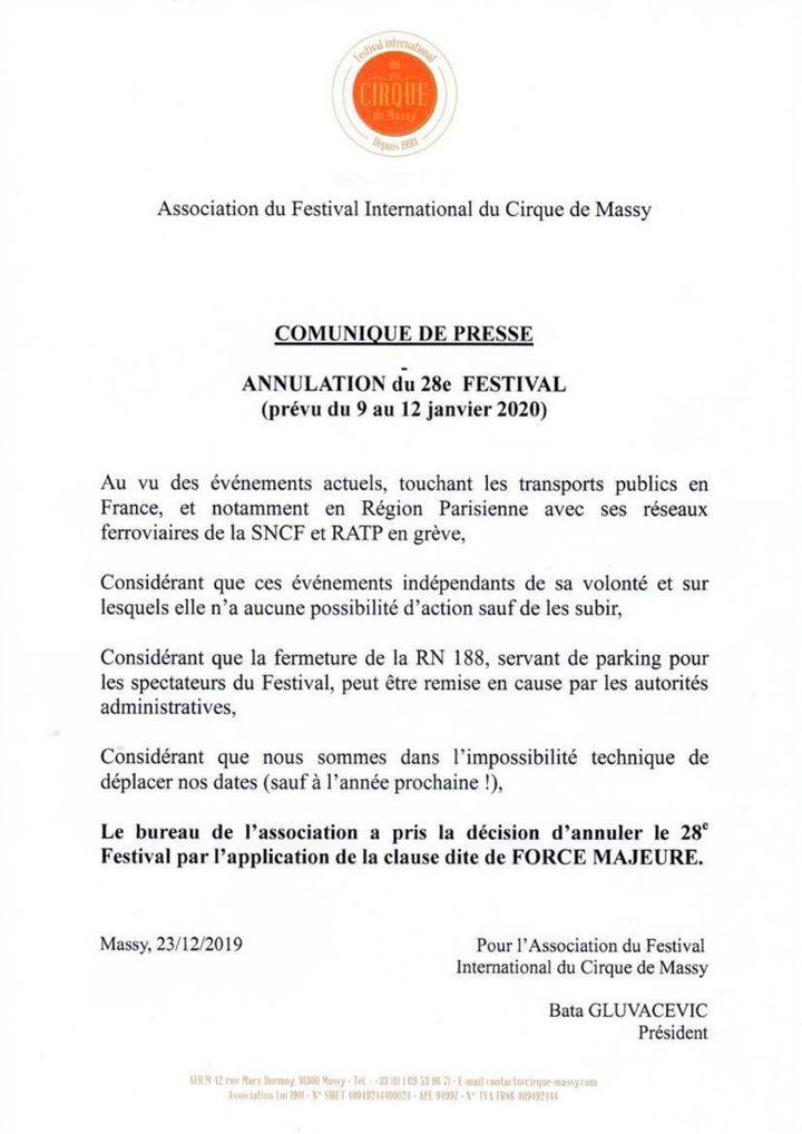 Communiqué de presse de l'association en charge duFestival international du cirque de Massy. (ASSOCIATION DU FESTIVAL INTERNATIONAL DU CIRQUE DE MASSY)