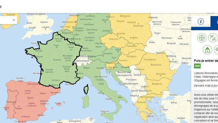 Capture d'écran du site Reopen.europa.eu, le 15 juin 2020. (COMMISSION EUROPEENNE)