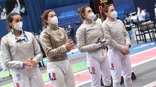 L'équipe de France sélectionnée pour les Jeux de Tokyo. De gauche à droite Sara Balzer, Cécilia Berder, Manon Brunet et Charlotte Lembach. (AUGUSTO BIZZI)