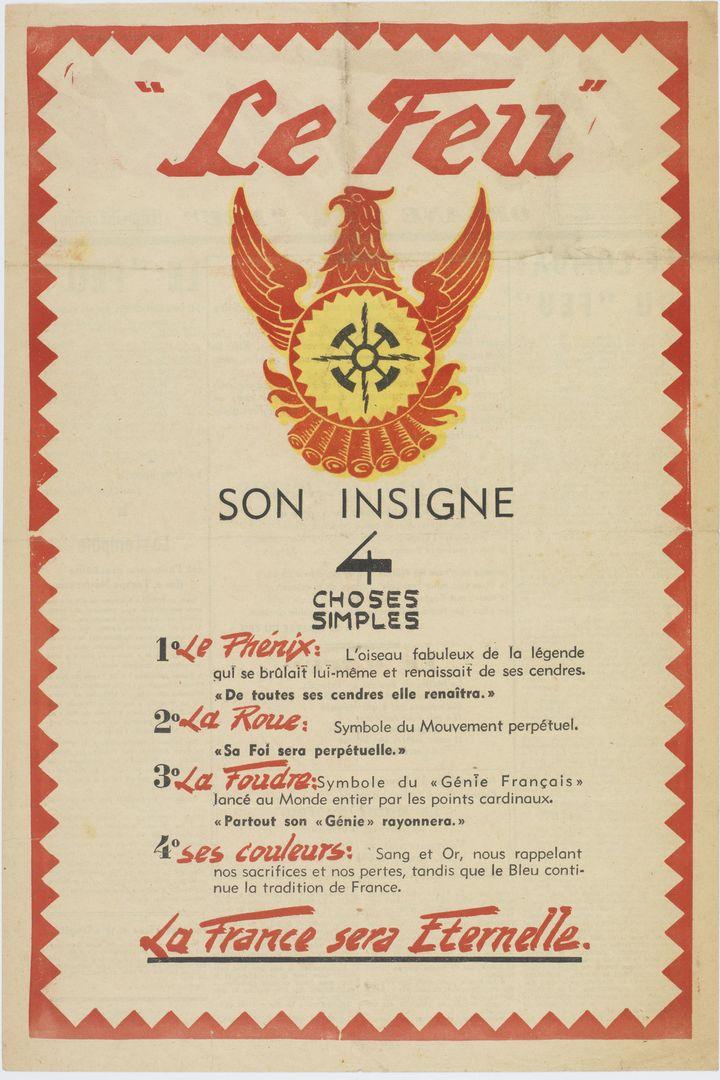 Affiche du parti Le Feu - Coll. BL.  (Archives nationales / Alain Berry)