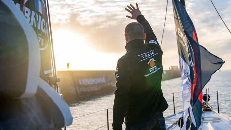 Kevin Escoffier lors du départ du Vendée Globe 2020. (SPORT PRB)