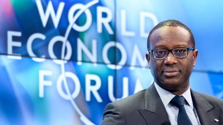 Le patron démissionnaire deCredit Suisse Tidjane Thiam, le 23 janvier 2018, à l'ouverture du Forum économique mondial qui se tient chaque année à Davos, en Suisse. Sa démission sera effective le 14 février 2020.  (FABRICE COFFRINI / AFP)