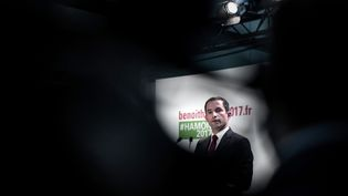 Benoît Hamon lors de l'inauguration de son QG de campagne à Paris, samedi 11 février 2017. (PHILIPPE LOPEZ / AFP)