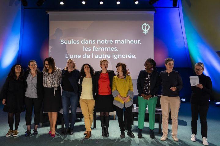 Meeting consacré aux droits des Femmes organisé par La France insoumise le 7 mars 2019, à Bobigny (Seine-Saint-Denis) (STRINGER / AFP)
