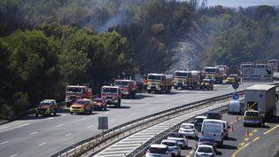 Des pompiers à l'œuvre sur l'A55, mercredi 5 août 2020. (CHRISTOPHE SIMON / AFP)