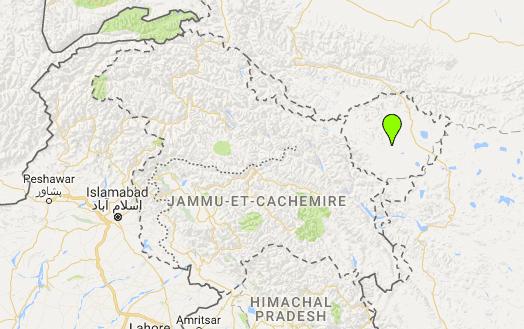 L'Aksai Chin dans l'sst du Cachemire est occupé par la Chine (point vert) (Geopolis)