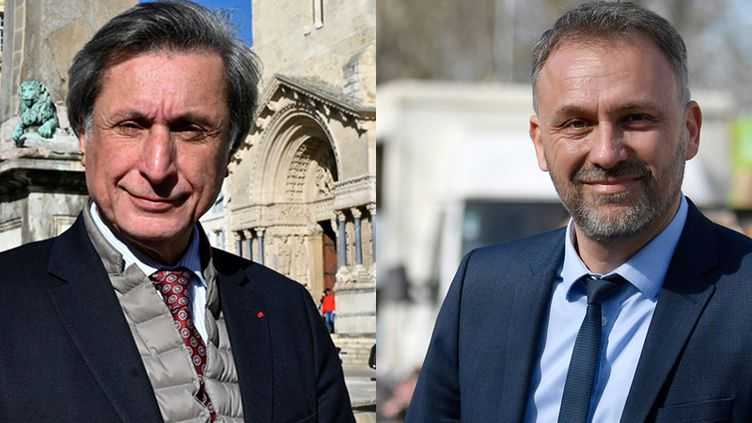 Patrick de Carolis et Nicolas Koukas, les deux candidats au second tour des élections municipales à Arles (GERARD JULIEN / AFP)